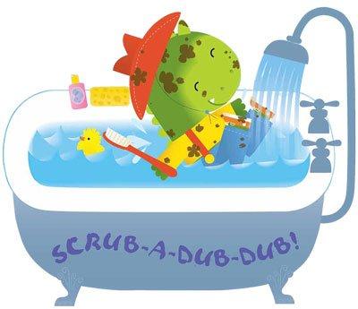 Dini Dinosaur takes a bath